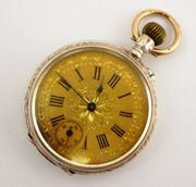 Antique 1900s  German .800 Silver & Gold Pocket Watch   Needs Work