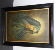 Large 1900s Framed Religious Print of Mary