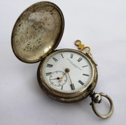 1883 Antique Full Hunter Silver Pocket Watch Stewart Dawson & Co Liverpool