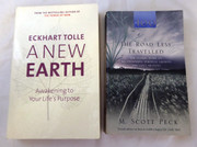 2 Books on Philosophy Self Help The road less traveled   New Earth Eckhart Tolle