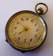 1800s Fancy .935 Swiss Silver Fancy Applied Gold and Enamel Dial Antique Pocket Fob Watch