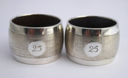 Pair of Art Deco 1939 Hallmarked Sterling Silver and Bakelite '25' Napkin Ring by J Gloster