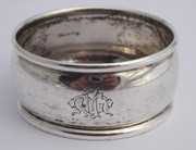 Antique 1906 Hallmarked Sterling Silver Napkin Ring  Fancy Monogram