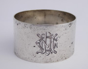 Antique 1907 Hallmarked Sterling Silver Napkin Ring  Fancy Monogram CMU Mappin & Webb