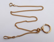 Antique Late 1800s Fancy Long Gold Plated Pocket Watch Chain