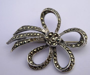 Vintage German 1950s 60s  Marcasite  925 Sterling Silver Bow Brooch (Needs Work)