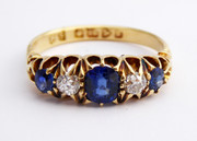 Stunning Antique 1907 Hallmarked 18ct Gold Ring Sapphire and Diamond Ring Size N 1/2