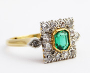 Stunning 1920s Art Deco  Hallmarked 18ct Gold and Platinum Emerald and Diamond Ring  K 1/2