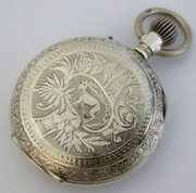 Antique Late 1800s Swiss Fob Pocket Watch with Engraved  Deer Temperamental