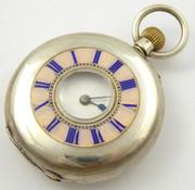 Antique Late 1880s Hallmarked Half Hunter Swiss Silver Mechanical Pocket Watch