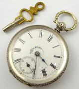 Antique Late 1880s Hallmarked Swiss Silver Key Wound Mechanical Pocket Watch