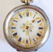 Antique  Late 1800s Swiss Hallmarked Fancy Gold Enamel  Dial EFB Pocket Watch (Needs Work)