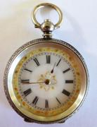 Antique  Late  1800s Swiss Chopard  Hallmarked Fancy Gold Enamel  Dial Pocket Watch (Needs Work)