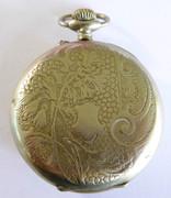 Antique Art Nouveau 1900s  Pocket Watch Fancy Engraved  Back ARGENTAN