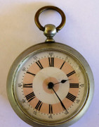 Antique Pink White Enamel 1900s ARGENTAN Pocket Watch Key Wound Mechanical Movement