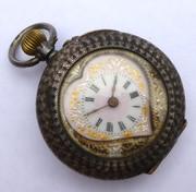 Antique Hallmarked Swiss Silver Heart Shaped Pocket Watch (Needs Work)