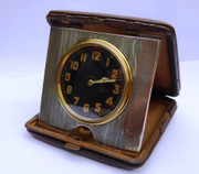 Stunning  Large Hallmarked 1923  Sterling Silver Pocket Watch Leather Travel Case 8 Day Clock