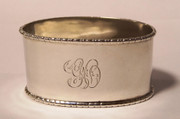 1923 Art Deco Monogrammed GO  Hallmarked Sterling Silver Napkin Ring by  Silversmith Northern Goldsmiths Co