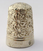 Unusual Antique Plated Sewing Thimble with Unusual Hallmark
