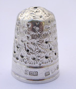 Antique 1890 Hallmarked Sterling Silver Sewing Thimble Silversmith Charles Horner 8
