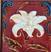 Antique 1880s Art Nouveu Floral Victorian Majolica Tile Display or Teapot Stand