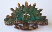 Antique WW2  Era Military  AIF Australia Rising  Sun  Shoulder  Badge K G Luke