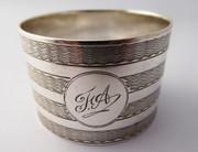 "Antique Hallmarked 1922 Sterling Silver Napkin Ring ""FA"" by E J Trevitt & Sons"