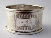 Vintage 1972  Hallmarked Sterling Silver Napkin Ring JRL 1971