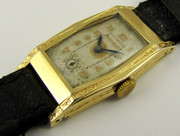 1930s Art Deco Gold Curved Bulova Wrist Watch  (NEEDS WORK)