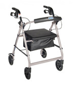 Rollator Walker with Fold Up and Removable Back Support and Padded Seat. Silver - r726sl