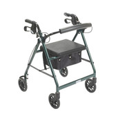 Rollator Walker with Fold Up and Removable Back Support and Padded Seat. Green - r726gr