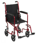 Transport Wheelchair, Lightweight Red - atc19-rd