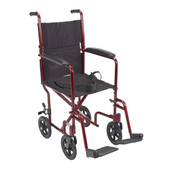Lightweight Red Transport Wheelchair - atc17-rd