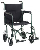 "17"" Flyweight Lightweight Green Transport Wheelchair - fw17gr"
