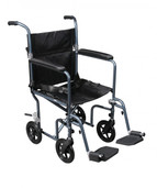 Flyweight Lightweight Blue Transport Wheelchair with Removable Wheels - fw19rw-bl
