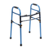Two Button Blue Folding Universal Walker - 10248nbl-1