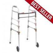 "Two Button Folding Universal Walker with 5"" Wheels - 10253-1"