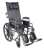 Silver Sport Reclining Wheelchair with Detachable Desk Length Arms and Elevating Leg rest - ssp16rbdda