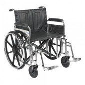 Sentra Extra Heavy Duty Wheelchair with Detachable Full Arms and Swing Away Footrest - std24dfa-sf