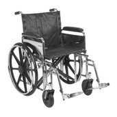 Sentra Extra Heavy Duty Wheelchair with Detachable Full Arms and Swing Away Footrest - std20dfa-sf