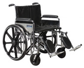 Sentra Extra Heavy Duty Wheelchair with Detachable Full Arms and Elevating Leg Rest - std22dfa-elr