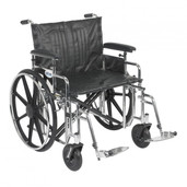 Sentra Extra Heavy Duty Wheelchair with Detachable Adjustable Full Arms and Swing Away Footrest - std24adfa-sf
