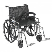 Sentra Extra Heavy Duty Wheelchair with Detachable Adjustable Desk Arms and Swing Away Footrest - std24adda-sf