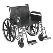 Sentra EC Heavy Duty Wheelchair with Detachable Full Arms and Swing Away Footrest - std24ecdfa-sf