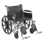 Sentra EC Heavy Duty Wheelchair with Detachable Full Arms and Elevating Leg Rest - std24ecdfa-elr