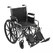 Wheelchair, Chrome Sport, with Detachable Desk Arms and Elevating Leg Rest - cs18dda-elr