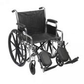 Wheelchair, Chrome Sport, with Detachable Desk Arms and Elevating Leg Rest - cs16dda-elr