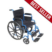 Wheelchair, Blue Streak, with Flip Back Desk Arms and Swing Away Footrest - bls18fbd-sf