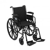 "Light Weight Wheelchair with Flip Back Removable Adjustable Desk Arms and Swing  Away Footrest. 18"" Seat - k318adda-sf"