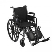 "Light Weight Wheelchair with Flip Back Removable Adjustable Desk Arms and Elevat  ing Leg Rest. 18"" Seat. - k318adda-elr"